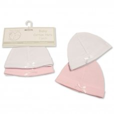 PB-20-477: Premature Baby Girls Hats with Bow - 2-Pack