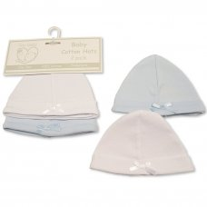 PB-20-478: Premature Baby Boys Hats with Bow - 2-Pack