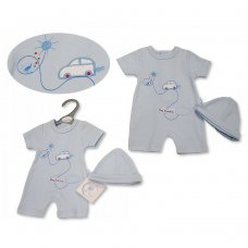 PB-20-534: Premature Baby Boys Romper with Hat - Day Dreamer