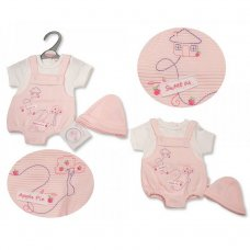 PB-20-538: Premature Baby Girls Dungaree Romper With Hat - Sweet As Apple Pie