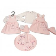 PB-20-539: Premature Baby Girls 2 Piece Dress Set with Hat - Sweet As Apple Pie