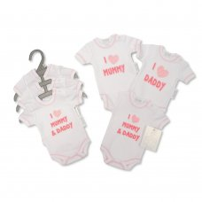 PB-20-552: Premature Baby Girls I Love Mummy & Daddy 3 Pack Bodysuits