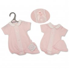 PB-20-563P: Premature Baby Girls Romper With Lace & Hat Set