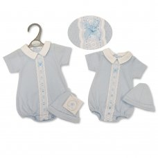 PB-20-563S: Premature Baby Boys Romper With Lace & Hat Set