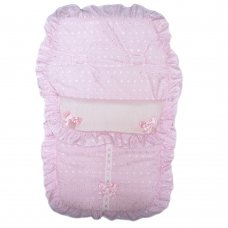 Broderie Anglaise Pink Footmuff/ Cosytoe With Bows & Lace