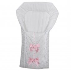 Broderie Anglaise Baby Nest With Ribbon & Large Bows: White/Pink