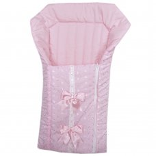 Broderie Anglaise Baby Nest With Ribbon &  Large Bows: Pink