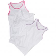 1303401: Girls 3 Pack Plain Vests (2-10 Years)