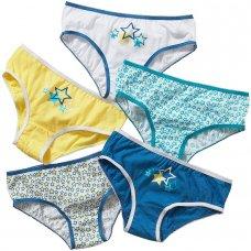 1305501B: 5 pack Pattern Girls Briefs- Blue (2-13 Years)