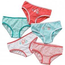 1305501C: 5 pack Pattern Girls Briefs- Mint (2-13 Years)