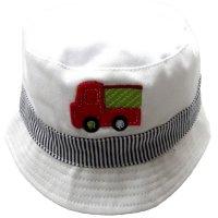 0183: Baby Boys Fire Engine Motif Bucket Hat (0-6 Months)