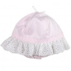 0235: Baby Girls Bow Top Frill Cloche With Chin Strap (0-6 Months)