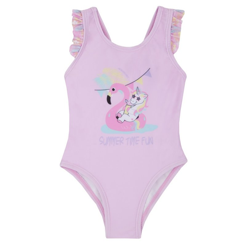 09C031: Baby Girls Frill Print Swimsuit (3-24 Months)