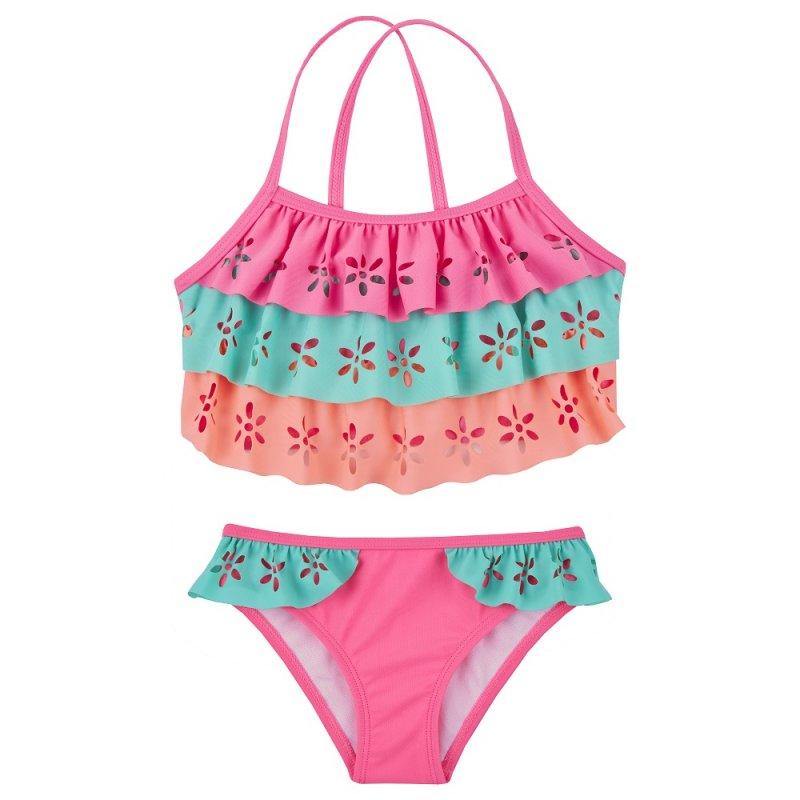 09C037: Older Girls Laser Cut 2 Piece Swim Suit (7-13 Years)