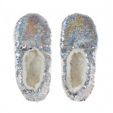 100C004: Older Girls Sparkling Sequin Slippers (Kids Shoe Sizes: 10-3)