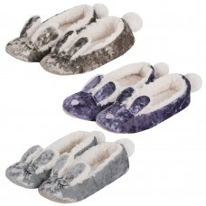 102B027: Older Girls Novelty Bunny Velvet Slipper (Shoe Sizes: 3-8)