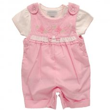 1073A: Baby Girls Follow The Butterfly Dungaree & T-Shirt Set (0-9 Months)