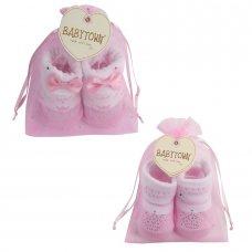 10C100: Baby Girls Little Princess Organza Bag Gift Socks (0-12 Months)