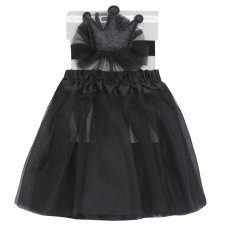 10C149: Baby Girls Black Tutu Skirt & Headband Set (0-24 Months)