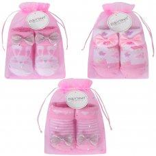 10C153: Baby Girls Ditsy Bunny Organza Bag Gift Socks (0-12 Months)