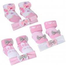 10C154: Baby Ditsy Bunny Headband & Sock Set (0-12 Months)