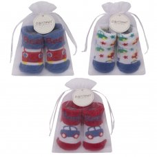 10C155: Baby Boys Car Organza Bag Gift Socks (0-12 Months)