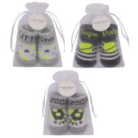 10C156: Baby Boys Space Organza Bag Gift Socks (0-12 Months)