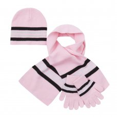 10C165: Infant Girls Hat, Scarf & Gloves Set (2-6 Years)