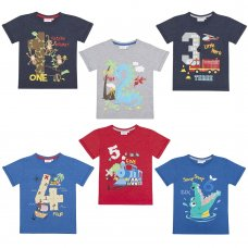11C107: Infant Boys Novelty Printed Number T-Shirts (1-6 Years)