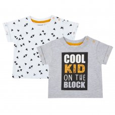 11C118: Baby Boys Cool Kids 2 Pack T-Shirt Set (NB-24 Months)