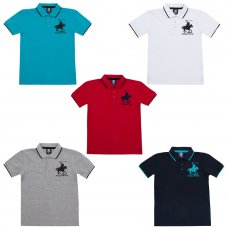 11C077: Older Boys Pique Polo With Horse Emblem (7-13 Years)