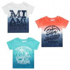 11C083: Baby Boys Dip Dyed T-Shirts With Print (3-24 Months)