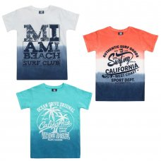 11C085: Older Boys Dip Dyed T-Shirts With Print (7-13 Years)