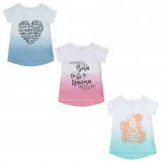 11C087: Infant Girls Dip Dyed T-Shirts With Print (2-6 Years)