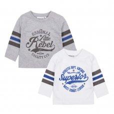 11C126: Baby Boys 2 Pack Long Sleeve Printed Tops (3-24 Months)