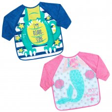 13C049: Dino & Mermaid Long Sleeve Bibs