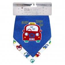 13C050: Baby Boys 2 Pack Cars Bandana Bibs