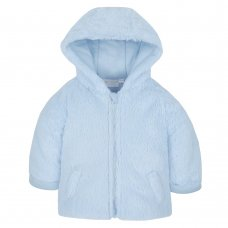 15C363: Baby Blue Cuddle Fur Hooded Zip Coat (3-12 Months)