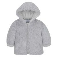 15C365: Baby Grey Cuddle Fur Hooded Zip Coat (3-12 Months)