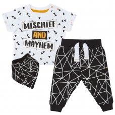 15C386: Baby Boys Mischief & Mayhem 3 Piece Outfit (NB-24 Months)