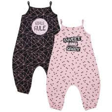 15C389: Girls Sweet & Sassy/Girls Rule Playsuit (2-8 Years)