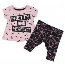15C390: Baby Girls Pretty & Perfect Top & Legging Set (NB-24 Months)