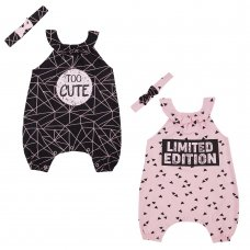 15C394: Baby Girls Limited Edition/Too Cute Playsuit & Headband Set (NB-24 Months)
