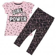 15C393: Girls Girl Power T-Shirt & Legging Set (2-8 Years)