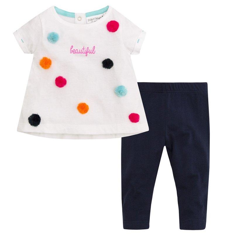 15C335: Baby Girls Pom Pom Top & Legging Set (3-24 Months)