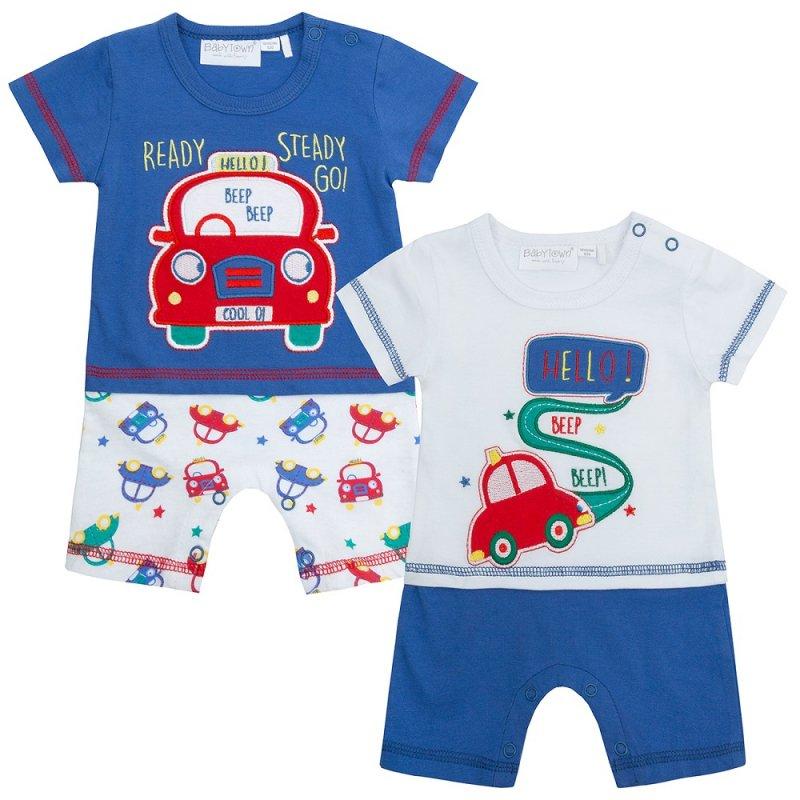15C351: Baby Boys Cars Mock Top & Short Romper (NB-12 Months)