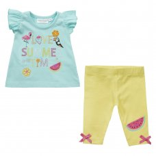 15C405: Baby Girls Tropical Frill Sleeve Top & Legging Set (NB-24 Months)
