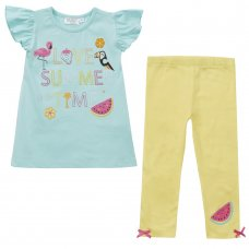 15C406: Girls Tropical Frill Sleeve Top & Legging Set (2-8 Years)