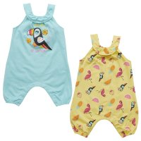 15C409: Baby Girls Tropical All Over Print Playsuit (NB-24 Months)