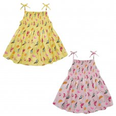 15C411: Girls Tropical All Over Print Shirring Dress (2-8 Years)